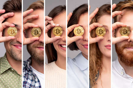 Young people with bitcoin coins