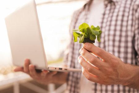 Crop farmer with laptop showing sprout Banco de Imagens