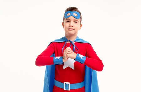 Brave boy in superhero outfit 免版税图像