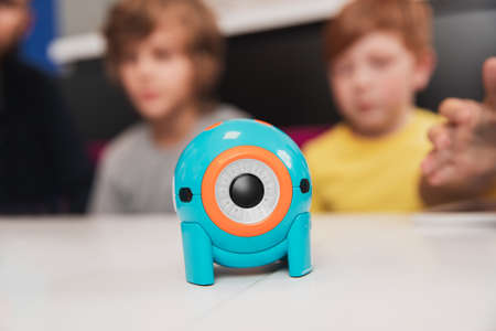 Toy robot created by kids in school