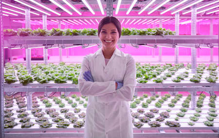 Happy biologist in agricultural laboratory 免版税图像