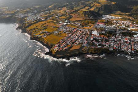 Small coastal settlement on seashore