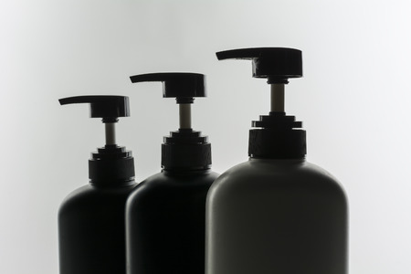 shower gel: Bottle of liquid soap, shower gel, shampoo, on white backgrounds. Stock Photo