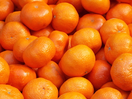 mandarins: Mandarins on display Stock Photo