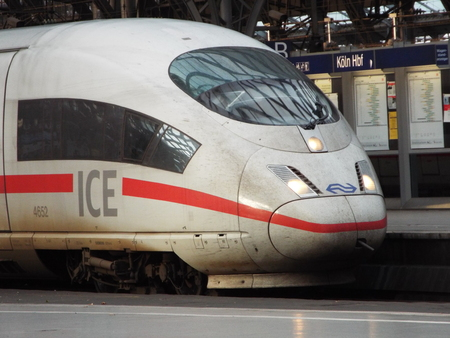 collective bargaining: Locomotive, Germany, Cologne 2104 A ICE locomotive stops in Cologne Central Station. Editorial
