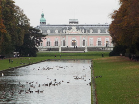 classicism: Castle Benrath (back), Germany, Dusseldorf 2014. The castle from the 18th Combines the styles of the Baroque and Rococo with classicism. Editorial