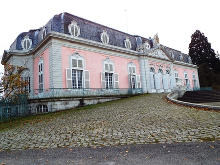 classicism: Castle Benrath (front), Germany, Dusseldorf 2014. The castle from the 18th Combines the styles of the Baroque and Rococo with classicism.