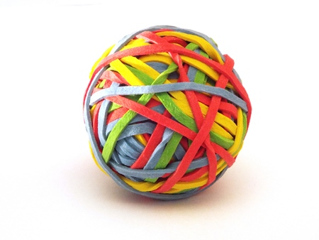 rubber bands: Rubber ball.  A ball of rubber bands in bright colors Stock Photo