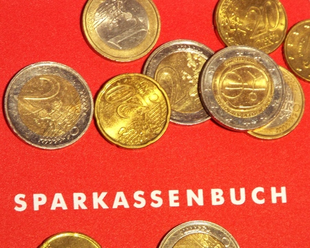 capital gains: Passbook.  Some Euro notes and coins lying on a German deposits book.