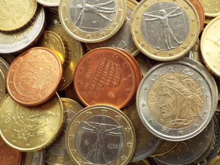 euro coins: Euro coins  Italian -  Italian euro coins lying on a heap of coins.
