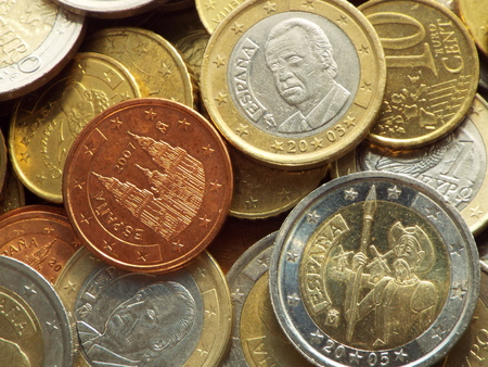 euro coins: Euro coins  Spanish -  Spanish euro coins lying on a heap of coins.