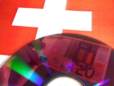Control Data: In the foreground bill reflected in a CD, behind the Swiss flag photo