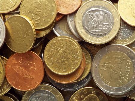 Greek euro coins - A pile of Greek euro coins.