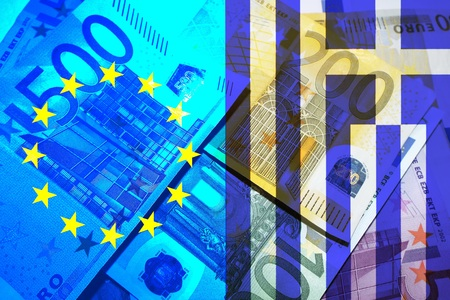 greek currency: Greece crisis European flag and flag of Greece banner bills