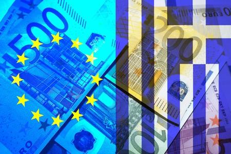 repayment: Greece crisis European flag and flag of Greece banner bills
