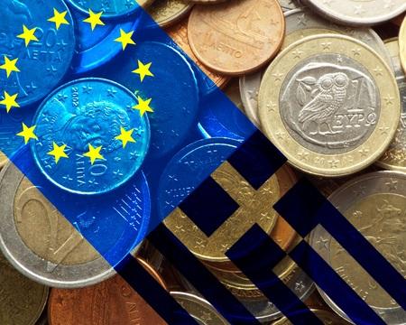 banking crisis: Greece crisis European flag and flag of Greece on euro coins Stock Photo
