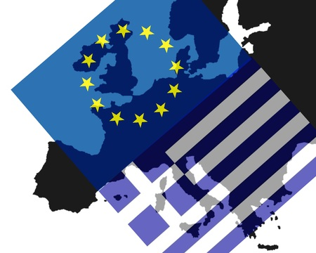 greece: Greece crisis European flag and flag of Greece banner a black map of Europe