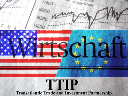 lobbyists: TTIP American and European flag under the title Economics