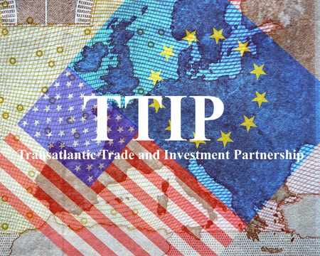 harmonization: TTIP American and European flag in front of a map of Europe.