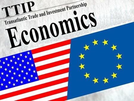 harmonization: TTIP American and European flag under the title Economics