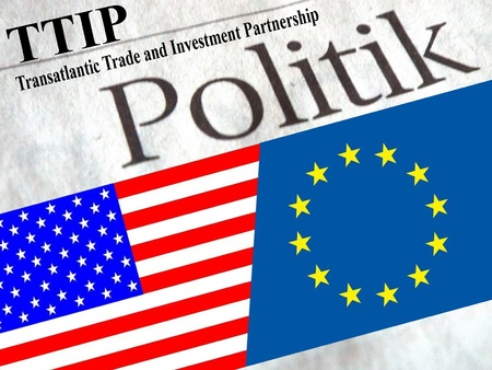 lobbyists: TTIP American and European flag under the title policy