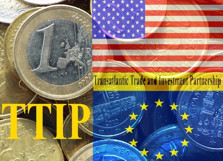 lobbyists: TTIP American and European flag in front of a pile of euro coins