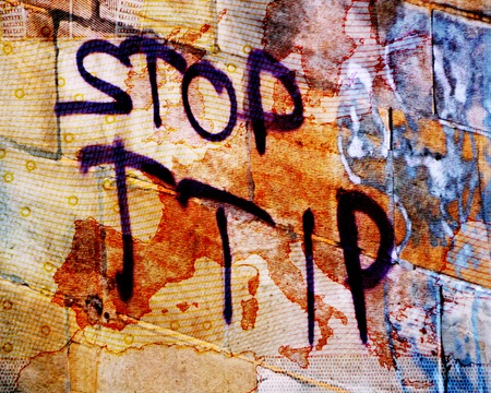 lobbyists: TTIP The words quotStop TTIPquot before a translucent map of Europe