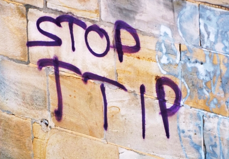 lobbyists: TTIP The words quotStop TTIPquot on a stone wall