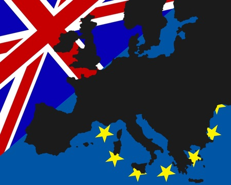 referendum: Power Struggle Between the UK and Europe The black map of Europe has been Deposited with the flags of Britain and Europe