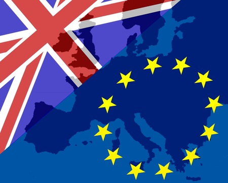 Power Struggle Between the UK and Europe The flags of Britain and Europe make the contours of Europe show through