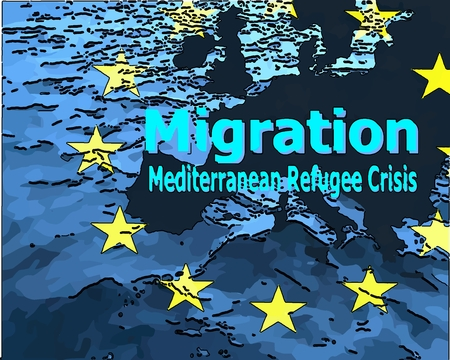 Migration to Europe Refugee Crisis in the Mediterranean The map of Europe with the ring of stars surrounded by water with the word quotmigrationquot quotMediterranean Refugee Crisisquot.