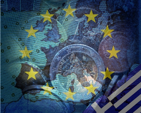 repayment: Greek Debt Crisis Behind the europischsen Flag with star circle the contours of Europe translucend Euro coins in the lower right corner is the Greek flag
