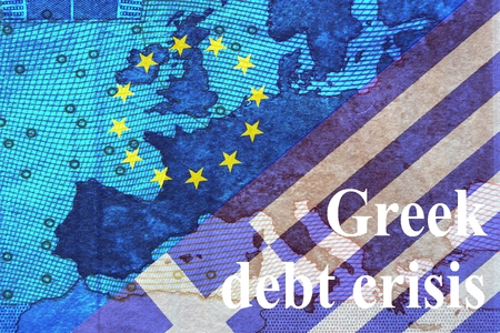 repayment: Greek Debt Crisis Behind the europischsen Flag with star circle the contours of Europe in the lower right corner is the Greek flag with the inscription Greek debt crisis