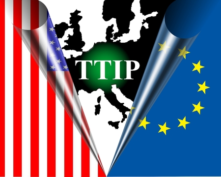 lobbyists: TTIP American and European flag rolled behind a black map of Europe with a green dot infront the inscription TTIP