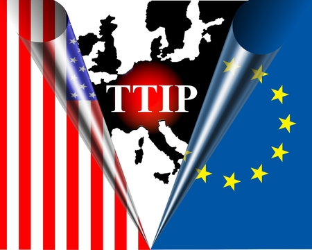 lobbyists: TTIP American and European flag rolled behind a black map of Europe with a red dot infront the inscription TTIP