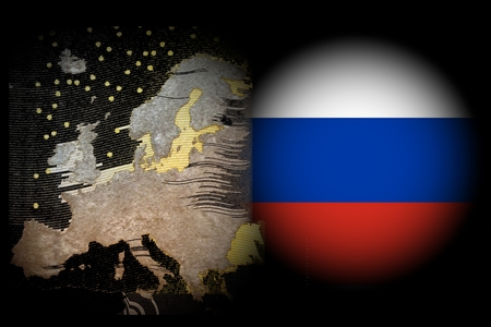 annexation: Conflict Europe Russia Europe map against black background next to the right in the East in a white spotlight the Russian flag Stock Photo