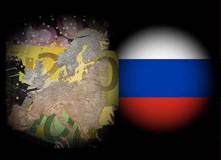 Conflict Europe Russia Map of Europe on euro notes in front of a black background right next to it in the East in a white spotlight the Russian flag Stock Photo
