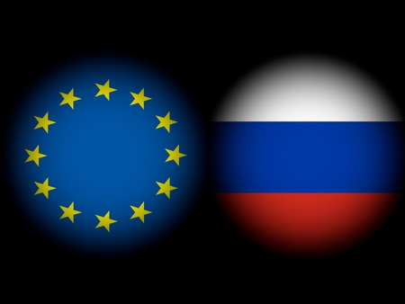 Conflict Europe and Russia European Russian flags spots against a black background