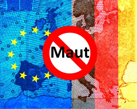 toll: Car toll: Conflict Germany European Commission The European and the German flag leave the map of Europe to shine through. Prior to a prohibition sign with the word great.