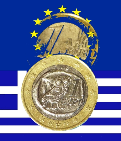 repayment: Greek debt crisis European flag greek flag down front below a Greek euro above a Partially translucent Euro Stock Photo