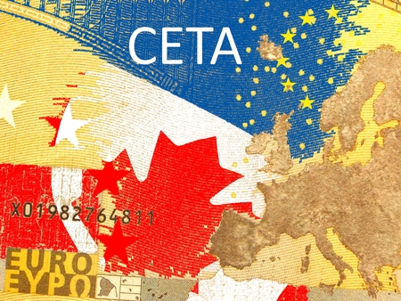 lobbyists: CETA - the Comprehensive Economic and Trade Agreement - Canadian flag behind a translucent Euro banknote