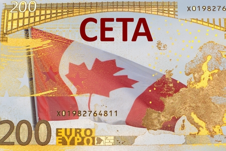 deregulation: CETA - the Comprehensive Economic and Trade Agreement - Canadian flag behind a translucent Euro banknote