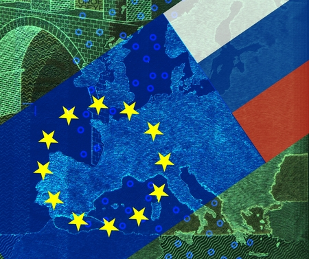 dissidents: Relationship Europe - Russia -In the map of Europe, Which is covered with the European flag, protrudes from the upper right into the Russian flag.