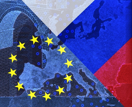 middle east crisis: Relationship Europe - Russia -In the map of Europe, Which is covered with the European flag, protrudes from the upper right into the Russian flag.