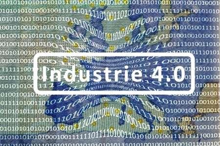 computerization: Industry 4.0: The Working World of the Future. - About the map of Europe is a film with digital encoding. Central inscription: industry 4.0. German version.