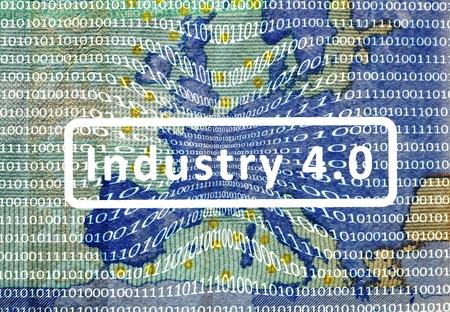 Industria 4.0: El Mundial de Trabajo del Futuro Sobre el mapa de Europa es una película con codificación digital. Inscripción central: industria 4.0. Foto de archivo - 47911900