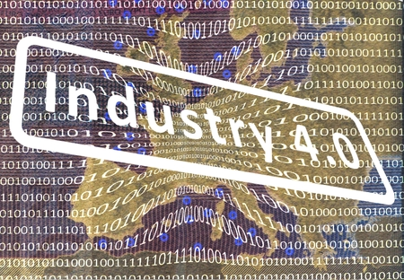 collective bargaining: Industry 4.0: The Working World of the Future About the map of Europe is a film with digital encoding. Central inscription: industry 4.0.