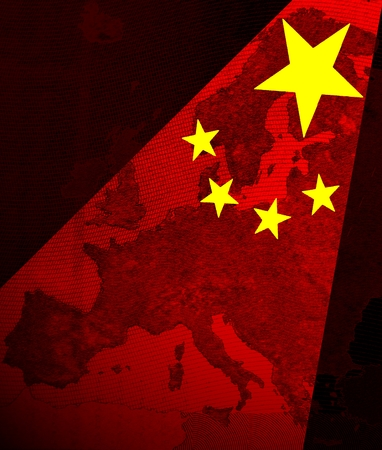 foreign trade: Europe and China The stars of the Chinese flag as red spotlights shining on the map of Europe.