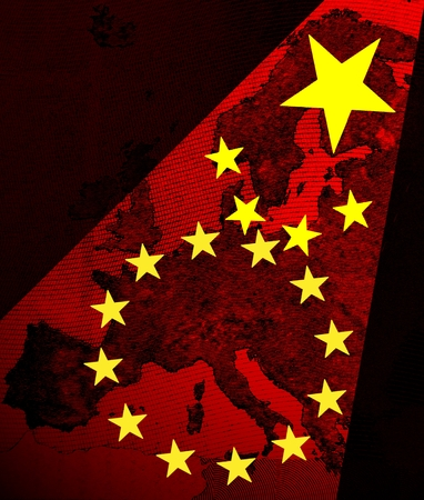emerging economy: Europe and China The stars of the Chinese flag as red spotlights shining on the map of Europe. In a headlight beam, the stars of the Chinese flag grave in the aureole of the European stars.