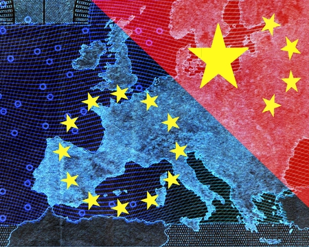 europe flag: Europe and China The European and the Chinese flag divide the image diagonally. Stock Photo